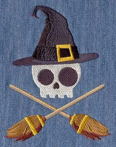 PAIR hand towels  skull witch  EMBROIDERED 15 x 25 inch for