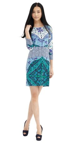 Our favorite Rihanna shift is recolored in this gorgeous blue pattern