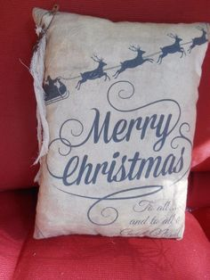 Accent PiLLow  Merry Christmas To All & A Good Night Primitive Country Decor #handmadenannysattic15 #PrimitiveCountry Ebay nannysattic15