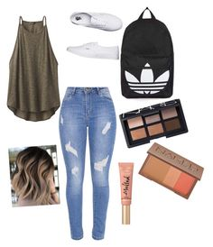 """school "" by lenysbonilla on Polyvore featuring prAna, Vans, Topshop, NARS Cosmetics, Urban Decay and Too Faced Cosmetics"