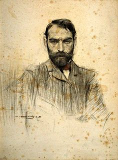 'Portrait of Gustave Violet, Ramon Casas i Carbó.' Drawing by Ramon Casas Fine Art Drawing, Life Drawing, Figure Drawing, Drawing Sketches, Painting & Drawing, Art Drawings, Spanish Artists, Ramones, Drawing People