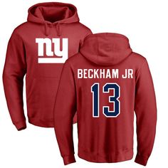 e8566c061a93 Men s New York Giants NFL Pro Line Red Personalized Name   Number Logo Pullover  Hoodie