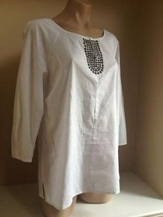 Laundry by Shelli Segal New nwt  White Embellished Cotton Shirt Top sz 8 or M