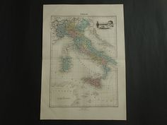 ITALY old map LARGE 1883 original hand colored by DecorativePrints