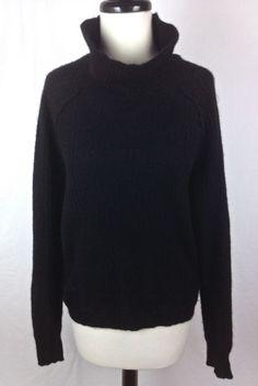 360 Cashmere Sweater Womens L Black Long Sleeve #360Cashmere #TurtleneckMock