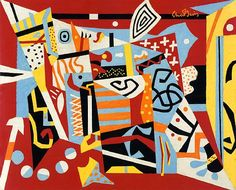 Stuart Davis Hot Still-Scape for six colors-7th Avenue Style 1940