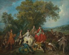 """Picnic after the Hunt"" Nicolas Lancret - Artwork on USEUM Hunting Painting, Pick Art, French Paintings, French Rococo, Famous Artwork, National Gallery Of Art, Vintage Wall Art, Famous Artists, Art Reproductions"