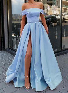 A-Line / Princess Satin Prom Dress Sexy . A-Line / Princess Satin Prom Dress Sexy Sweep Train Off- Prom Dresses Under 100, A Line Prom Dresses, Beautiful Prom Dresses, Event Dresses, Prom Party Dresses, Pretty Dresses, Sexy Dresses, Homecoming Dresses, Light Blue Prom Dresses