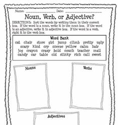 Worksheets Classifying Nouns Verbs And Adjectives Worksheets Answers food adjectives articles worksheets and noun verb or adjective worksheet