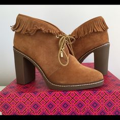 """TORY BURCH HILARY FRINGE BOOTIE, SIZE 5 TORY BURCH HILARY FRINGE BOOTIE, SIZE 5, SUEDE LEATHER UPPER WITH FRINGE ACCENT, LACE UP CLOSURE WITH GOLD TONE ACCENTS, SHAFT 4"""", HEIGHT HEEL 3.5"""", BRAND NEW WITH BOX AND DUST BAG Tory Burch Shoes Ankle Boots & Booties"""