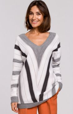 STYLE Ażurowy sweter w geometryczne wzory szary S218 Pullover, Elegant, Sweaters, Fashion, Model, Classy, Moda, Chic, Fashion Styles
