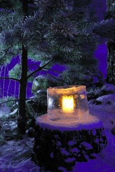 Some Finns decorate their yards with ice lanterns. You let a bucket of water freeze partway then pour out the excess, leaving a hollow space...