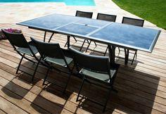 Table de jardin contemporaine rallonge