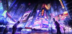 Visual overload! Adore this, the colours, the lighting, the detail <3 City Square by BlueRogueVyse on DeviantArt