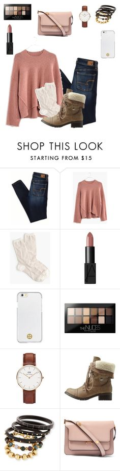 """""""Untitled #8"""" by carliewebster-1 ❤ liked on Polyvore featuring American Eagle Outfitters, Madewell, J.Crew, NARS Cosmetics, Tory Burch, Maybelline, Daniel Wellington, Charlotte Russe, Ashley Pittman and Marni"""