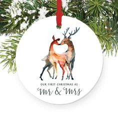 "Love Deer First Christmas as Mr & Mrs Ornament 2016, 1st Married Christmas Porcelain Ornament, 3"" Flat Circle Christmas Ornament w Glossy Glaze, Red Ribbon & Free Gift Box 
