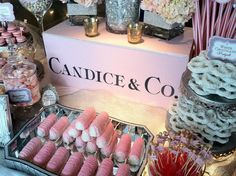 Candy Candy Candy - Tiffany Pink Candy Buffet by The Candy Brigade. Created for baby shower in NYC. Pink Candy Table, Tiffany Theme, Tiffany Party, Best Party Food, Custom Candy, Dessert Buffet, Dessert Tables, Food Displays, Appetizers For Party