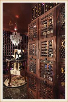 The topic of the day: Wine Cellar Inspirations: Keeping Your Wine Bottles Safe And Sound - Come in and tell us what you think! Wine Cellar Racks, Rustic Wine Racks, Wine Cellars, Hanging Wine Rack, Wine Rack Wall, Bottle Display, Wine Display, Kitchen Cabinet Wine Rack, Whiskey Room