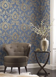 Inspired by timeless traditional design, guided by modern methods and contemporary trends; behold this elegant design. The solid backdrop is perfect for the large scale scrolling leaves printed in rad