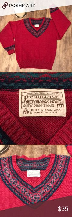 JUST IN🔥PENDELTON VINTAGE V NECK SWEATER PINK This woman's pendelton vintage v Neck is in amazing condition. This is a total GEM! Comes from a smoke free home. This is a size small, made in the 🇺🇸 USA✨ check out my closet ✨ Pendleton Sweaters V-Necks