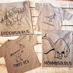 This 'three-rex' and his family are ready for his mega dinosaur party! #threerex #threeanger #three #birthday #3 #bday Buy it on Etsy:  https://www.etsy.com/listing/532173589/dinosaur-family-t-shirt-set?ref=shop_home_active_1