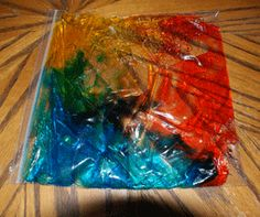 cool sensory activity with hair gel and food color