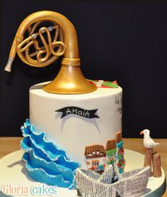 Birthday cake with french horn www.facebook.com/GloriaCakes www.GloriaCakes.com #birthdaycake #FrenchHorn #cornofrancese #musicinstrument #ruffles #edibleart #cake #cakedesign #fondant