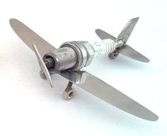 Spark Plug Airplane Industrial Art Piece