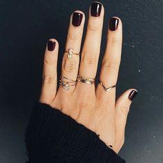 Dark mani and dainty rings. I want the chevron ring! Cute Nails, Pretty Nails, Hair And Nails, My Nails, Dark Nails, Dark Nail Polish, Polish Nails, Nail Ring, Nail Nail
