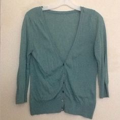 Classic teal cardigan 3/4 sleeve lightweight  teal cardigan has a small repair on the back neck line. Can be thrown in with another purchase for free. Sweaters Cardigans