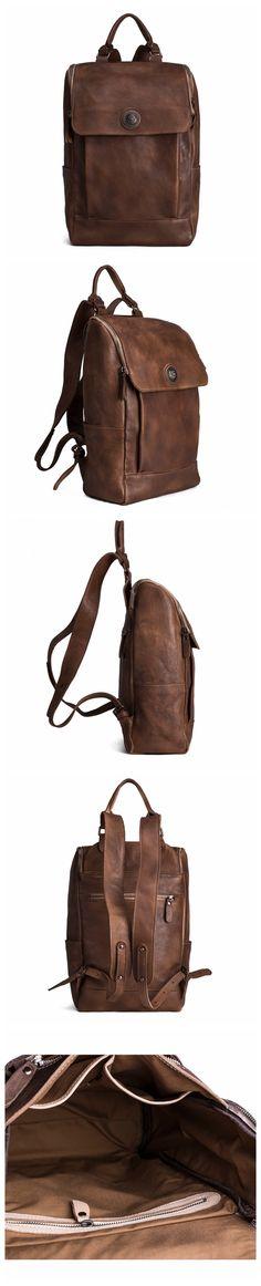 ROCKCOW Handmade Vegetable Tanned Leather Backpack/Rucksack, Men Backpack, School Backpack 9026