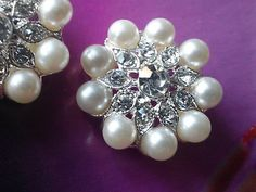 Silver Metal Rhinestone Buttons with Ivory Pearls 10 by zzlaca