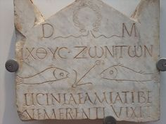 Funerary stele of early Christian woman depicting fish symbols discovered near Vatican necropolis early 3rd century CE | Flickr - Photo Shar...