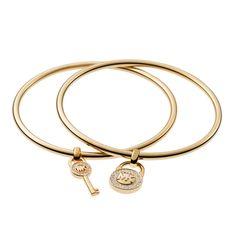 #MK #Trends Michael Kors Lock And Key Charm Golden Bracelets