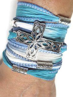33edfed258d6 Cross Silk Wrap Bracelet Yoga Jewelry Bohemian Spiritual Boho Wrist Wrap  Christmas Stocking Stuffer Cross Jewelry Unique Birthday Gift