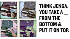 Pack Your Suitcase Perfectly By Seeing It Like a Game of Tetris or Jenga: some useful tips - it definitely helps to visualise the space in a bag, or the small nook left and think what can fit in, or what can be reoriented to give more room. I am not convinced though by the semi-rolling method used here