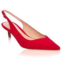 Red Kitten Heel Sling-Backs