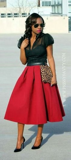 Red midi aline skirt black top