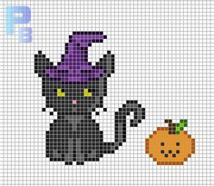 Halloween Black Cat  perler pattern - Patrones Beads / Plantillas para Hama