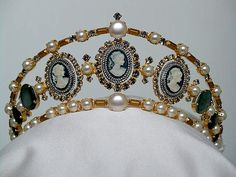 Cameo and Pearl diadem created for an historical museum waxwork of Laetitia Bonaparte.