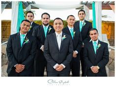 Tiffany Blue ties and vests for groomsmen.