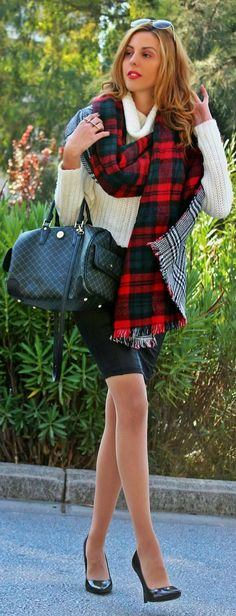 Red And Black Tartan Scarf