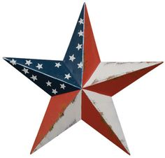 Dimensional Steel Metal Barn Star, Distressed Americana Flag Finish by Home Collection Measures wide (tip to tip), deep (inches) Made of metal with a distressed Americana finish Comes with a pre-drilled hole for adding your own hook, ribbon or hanger 3d Metal, Metal Barn, Steel Metal, Rusty Metal, Galvanized Metal, American Barn, American Flag, American Decor, Tin Star
