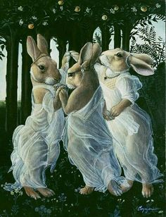 """Graces """"The Three Graces"""" from c. religious art revived via animalia - love the sarcasm in this.""""The Three Graces"""" from c. religious art revived via animalia - love the sarcasm in this. Lapin Art, Illustration Art, Illustrations, Rabbit Art, Bunny Art, Pics Art, Whimsical Art, Oeuvre D'art, Pet Portraits"""