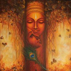 By Reena kapoor Lord Shiva Painting, Ganesha Painting, Buddha Painting, Mural Painting, Black Painting, Painting Studio, Radha Krishna Images, Krishna Pictures, Krishna Radha