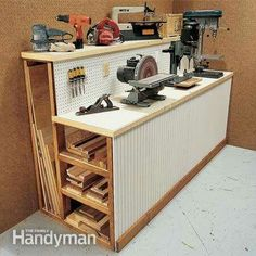 This simple workbench doubles as a storage rack for those long pieces of lumber and plywood that tend to clutter your workshop. Smart!  Make your own: http://spr.ly/6184Bhdkw