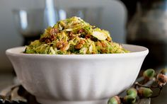 Shredded Brussels Sprouts with Maple Hickory Nuts. I make this recipe every fall when I feel like something other than roasted Brussels sprouts. Nut Recipes, Sprout Recipes, Detox Recipes, Free Recipes, Salad Recipes, Healthy Recipes, Shredded Brussel Sprouts, Brussels Sprouts, Vegetable Side Dishes