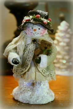 Victorian Whimsies by Nancy Malay Welcome To Christmas, Victorian Christmas, Christmas Snowman, All Things Christmas, Christmas Diy, Christmas Ornaments, Snowman Crafts, Christmas Projects, Christmas Crafts