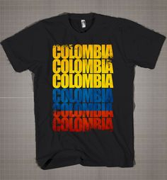 Colombia Flag Typography  Mens and Women T-Shirt Available Color Black And White