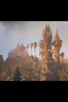 Thought I'd share an image of my latest build; a fantasy castle surrounded by an enchanted forest - Minecraft World Minecraft Kunst, Cute Minecraft Houses, Minecraft Medieval, Minecraft Castle, Minecraft Plans, Amazing Minecraft, Minecraft Blueprints, Minecraft Designs, Minecraft Crafts